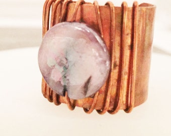 Wide Artisan Ring -- Copper Jewelry -- Wide Ring -- Adjustable Band