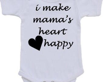 I make mamas heart happy baby boy or baby girl onesie or tshirt in all colors