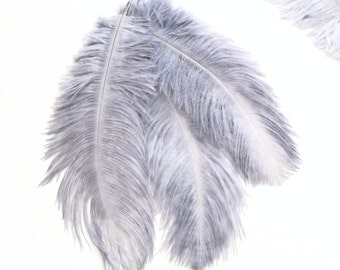 10 GREY-BLUE Ostrich feathers 6-8 inch. Gray burlesque feathers - Ostrich feathers for costumes, flower arrangements, wedding decorations