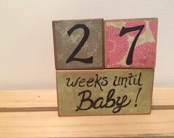 Baby Countdown Blocks, Pregnancy Countdown Set, Wooden Baby Blocks