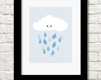 A4 rain drops print available in boy or girl versions nursery wall art