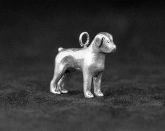 Sterling Silver Rottweiler Charm, Silver Rottweiler Pendant
