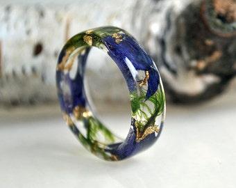 moss terrarium, natural moss, blue ring,resin moss rings, nature rings, nature inspired rings, resin ring flower,  modern flower child rings