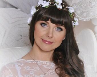 Flower Hair Garland Wedding Hair Flowers Head Wreath Flower Crown Cherry Blossoms White Bridal Wreath Fairy Wreath Floral Hair Crown LV12