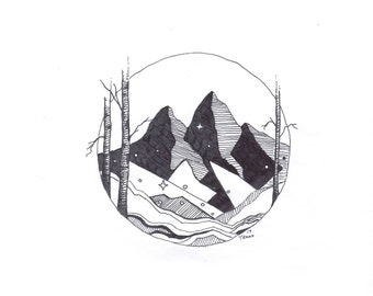 Geometric Peaks - Drawing Pen and Ink - Illustration - Mountains - Print - Giclee - Minimalist