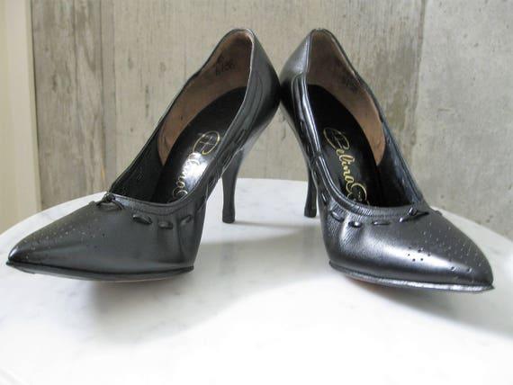 Vintage Black Leather Winklepickers High Heel Shoes 1950s