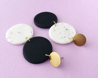 Three Tiered Earrings in Black & White Granite with a Brass Stud