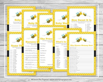 Bumble Bee Baby Shower Games - 10 Printable Baby Shower Games - Bumble Bee Baby Shower - Baby Shower Games Package - Shower Games - SP138