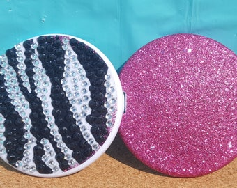 Bling Zebra Print Compact Mirror, (Your Choice of Glitter Color), Compact, Make-Up Mirror, Folding Mirror, Travel Mirror, Pocket Mirror