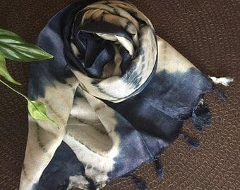 Handmade Silk Shibori, Indigo Silk Scarf, Shibori Scarf