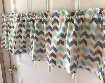Waverly home decor blue and brown tan chevron zig zag Curtain Valance 54 wide