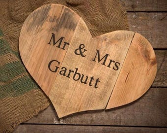Personalised Heart Wall Plaque, Recycled timber