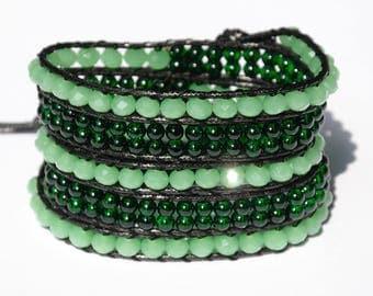 Green Boho bracelet Crystal bracelet 5x Wrap bracelet chunky bracelet womens gift for her Women bracelet gypsy bracelet bohemian bracelet