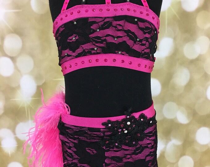 Jazz Dance costume deposit; balance Black/Hot Pink Dance Costume, black jazz  Dance Costume, lace Dance costume ; custom Dance Costume, solo
