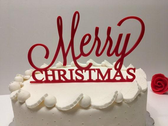 Merry Christmas Personalized Acrylic Cake Topper Red cake topper Christmas gift Xmas centerpiece Custom cake topper Christmas decorations