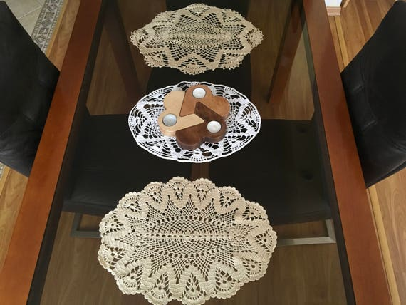 Set of 3 Doily Crochets, Handmade Crochet, Doily Table Decoration, Home Decor, Gift for Mom, Mothers day gift ideas, Hand crocheted lace