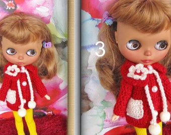 Crocheted coat on BLYTHE doll  free Shipping