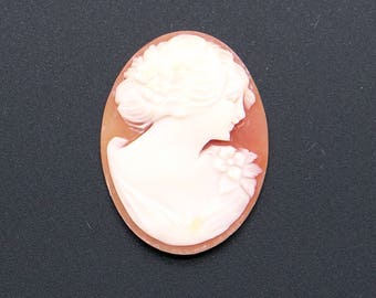 Carved Shell Cameo Woman Portrait Flower