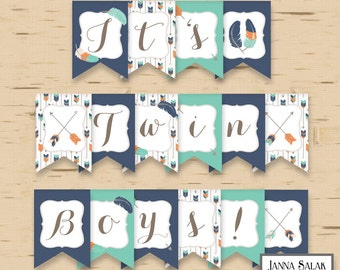 Tribal Arrows It's Twin Boys! Baby Shower Banner Boho Feather Blue Orange Teal DIY Printable INSTANT DOWNLOAD Pdf TR003