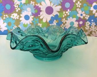 Aqua Blue Floral Fluted Glass Bowl