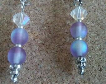 Purple Czech post earrings