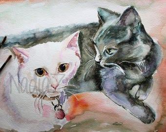 Custom Watercolor Two Cat Portrait, Pet Portrait from Photo, Custom Pet Portrait