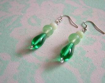 Green Jade Glass Dangling Earrings