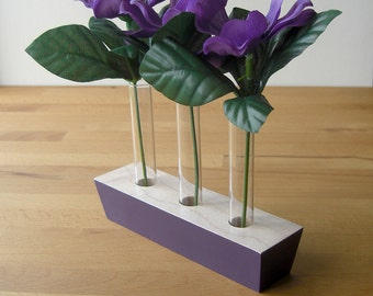Flower vase, posy vase, bud vase, centrepiece, decor, living room, dining room, table centre, handmade vase, home accessories, painted wood