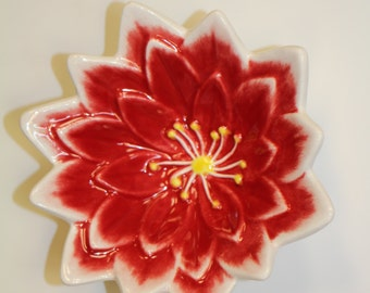 Red Lotus Ceramic Earthenware Flower Dish, Made In Hawaii, Food Safe