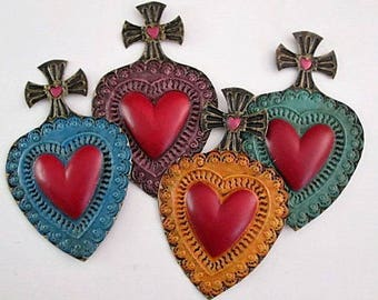 Painted Tin Heart with Cross - Punched Tin Heart, Mexican Folk Art