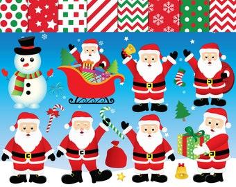 Santa Clipart,Santa claus Clipart,Santa digital paper,xmas clipart, digital clip art,Santa digital images,snowman clipart,Santa digital