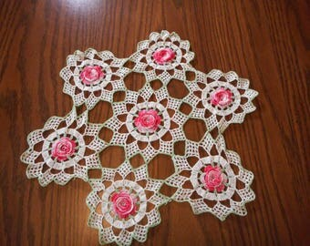 Vintage Rose Crochet Doily - Perfect