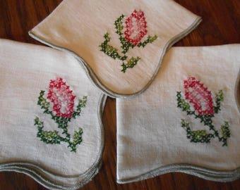 Vintage Hand Embroidered Napkins, set of three