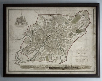 Moscow Map: Unframed Vintage Map of Moscow, Russia - Circa 19th C. - Weathered Map Reproduction