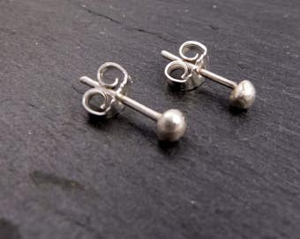 Dots - earrings, sterling silver, Nuggets, with plug