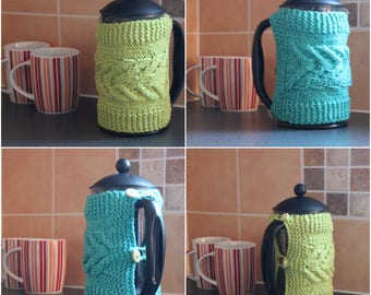instant download knitting pattern coffee caffettiera french press cover cosy - CPKP -2