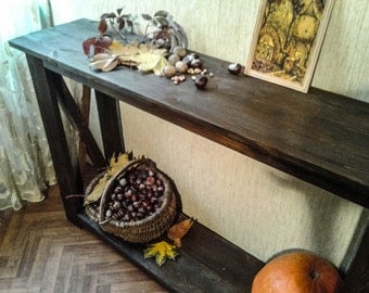 "Wood console table, narrow console table, hall console table, hallway table,rustic console table ,sofa table,entryway table ""Autumn Gifts""."