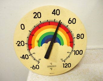 vintage outdoor round plastic thermometer,rainbow springfield advertising decorative thermometer
