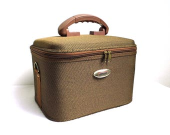 Vintage Train Case Makeup Vanity Cosmetic Suitcase Hard Shell Luggage Brown Travel Case Make Up Organizer Overnight Toiletry Hard Storage