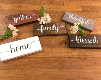 MINI SIGNS Family, Gather, Thankful, Home, Blessed Wooden Signs, Home Decor Sign, Wall Art, Customizable Wall Decor, Hand Painted Sign