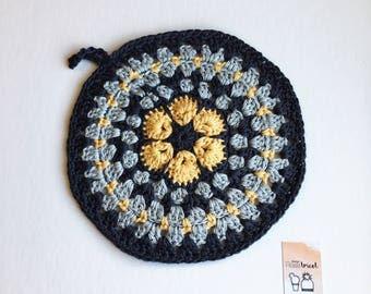 Crocheted - trivet crochet Potholder - grey and mustard