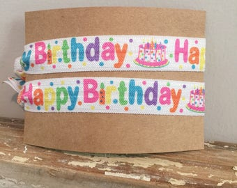 Birthday Hair ties// happy birthday FOE // Birthday gift for girl//party favors