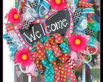 Summer Sunglasses Mesh Welcome Wreath, Sunglasses Summer Welcome Mesh Wreath, Welcome Sunglasses Summer Wreath, Mesh Welcome Wreath
