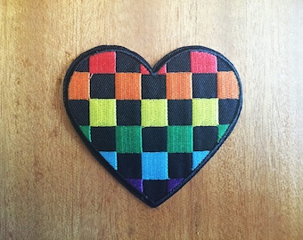 Cute Hippie Rainbow Check Heart Sew or IRON ON PATCHES Retro Goth Punk Child Kid Embroidered Bag Hat Clothing Patch