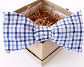 Cotton Gingham Bow Tie - Light Blue and Navy Bow Tie - Mens Freestyle Bow Tie - Womens Bow Tie - Navy and Dusty Blue Bow Tie