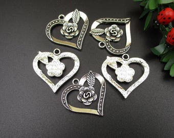 10PCS,30x29mm,Silver Heart Charms,Heart Pendants with Rose Flower-p1016