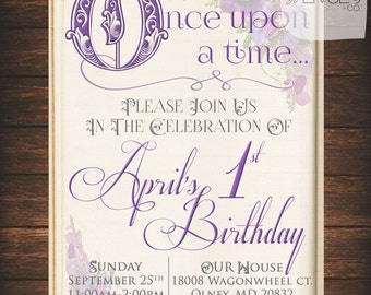 1 Upon A Time Invite, Once Upon A Time, First Birthday, Enchanted, Fairytale, Storybook, Princess, Birthday, Babyshower, Party, Girl