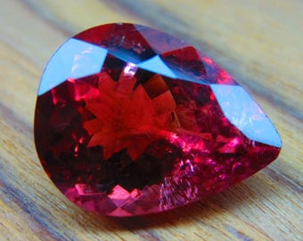5.00Ct,13X10X6mmMM,100% Natural Beautiful Pink/Red Tourmaline Pear Cut Faceted