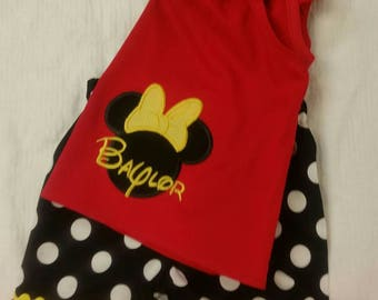 Minnie outfit, Minnie mouse, Disney clothing, Minnie applique, girls clothing, Minnie birthday