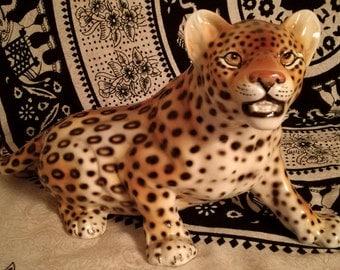 Ceramica Ronzan Leopardo figure 42 cm fine porcelain Ronzan Made in Italy 1950s